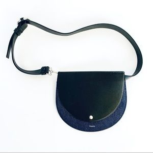 THEORY Leather & Denim Fannypack